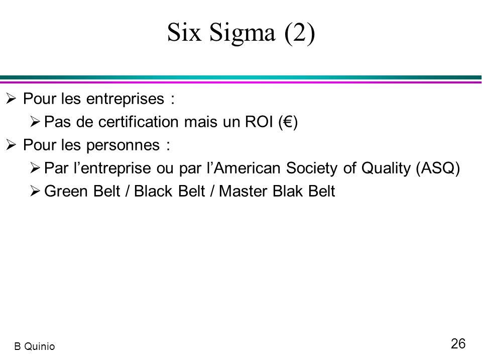 26 B Quinio Six Sigma (2) Pour les entreprises : Pas de certification mais un ROI () Pour les personnes : Par lentreprise ou par lAmerican Society of