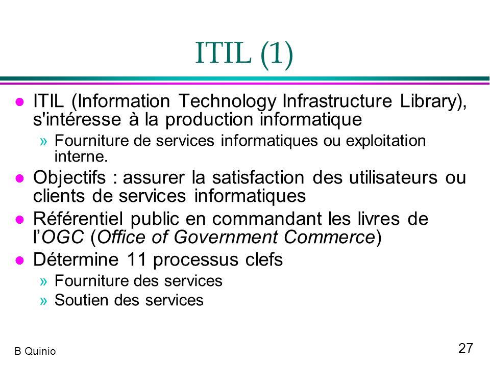 27 B Quinio ITIL (1) l ITIL (Information Technology Infrastructure Library), s'intéresse à la production informatique »Fourniture de services informat