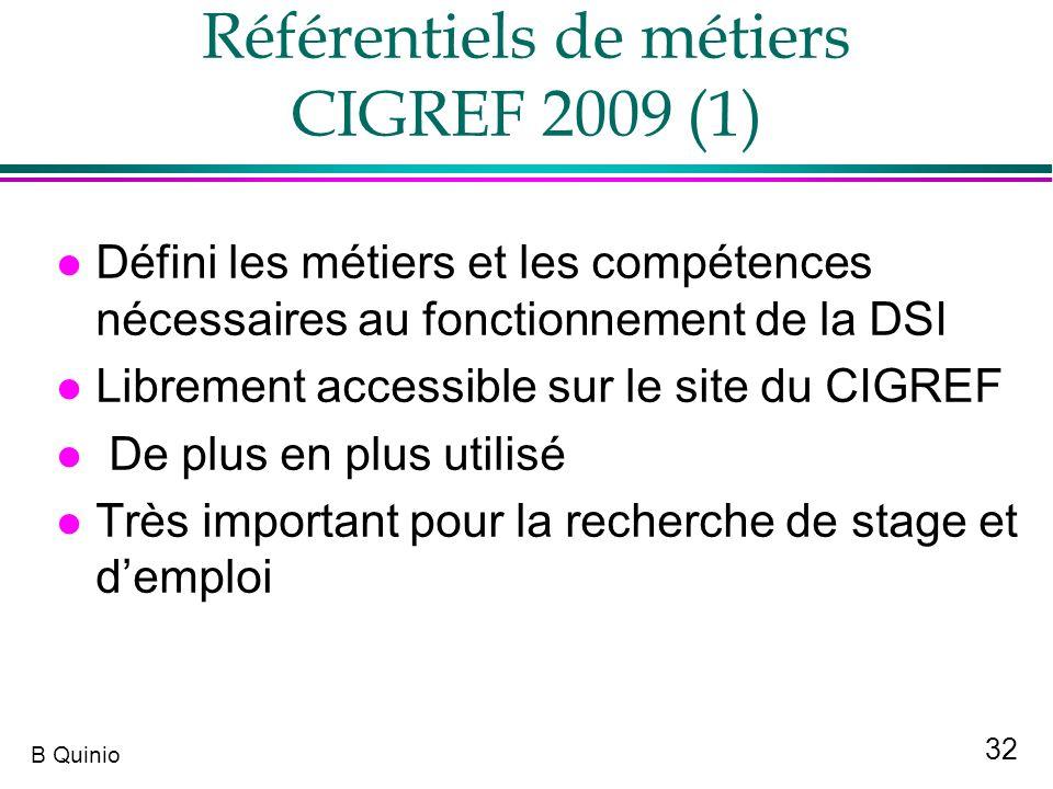 32 B Quinio Référentiels de métiers CIGREF 2009 (1) l Défini les métiers et les compétences nécessaires au fonctionnement de la DSI l Librement access