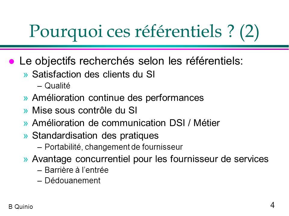 4 B Quinio Pourquoi ces référentiels ? (2) l Le objectifs recherchés selon les référentiels: »Satisfaction des clients du SI –Qualité »Amélioration co