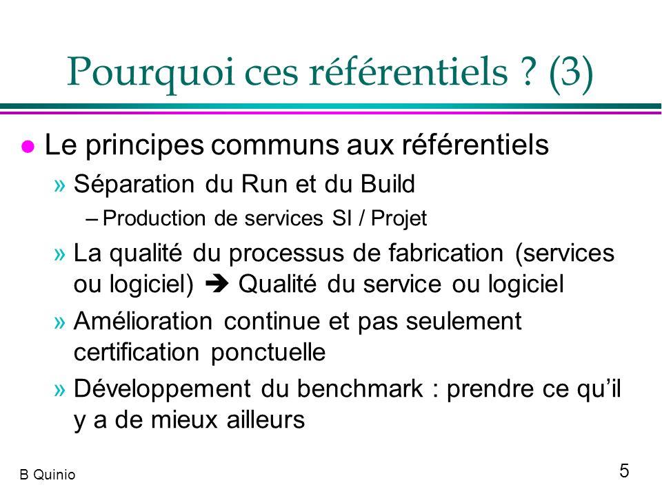 5 B Quinio Pourquoi ces référentiels ? (3) l Le principes communs aux référentiels »Séparation du Run et du Build –Production de services SI / Projet