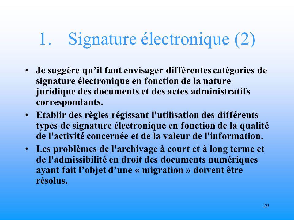 28 1.Signature électronique La signature électronique confère une nouvelle qualité aux documents électroniques.