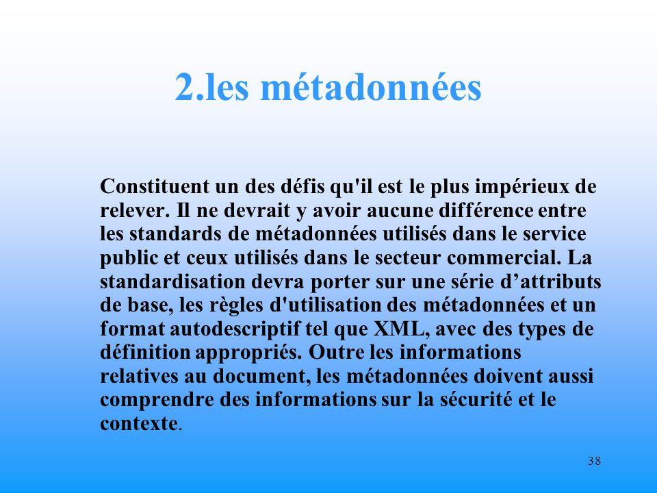 37 1.Standardisation Il y a un besoin de standardisation, d harmonisation et de réglementation.