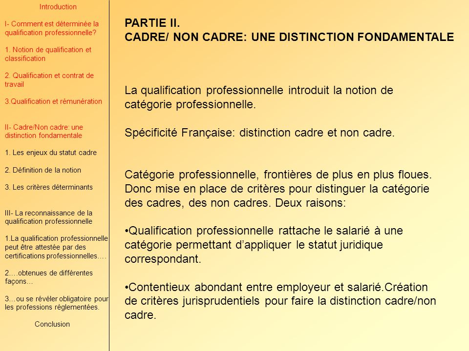 Introduction I- Comment est déterminée la qualification professionnelle? 1. Notion de qualification et classification 2. Qualification et contrat de t