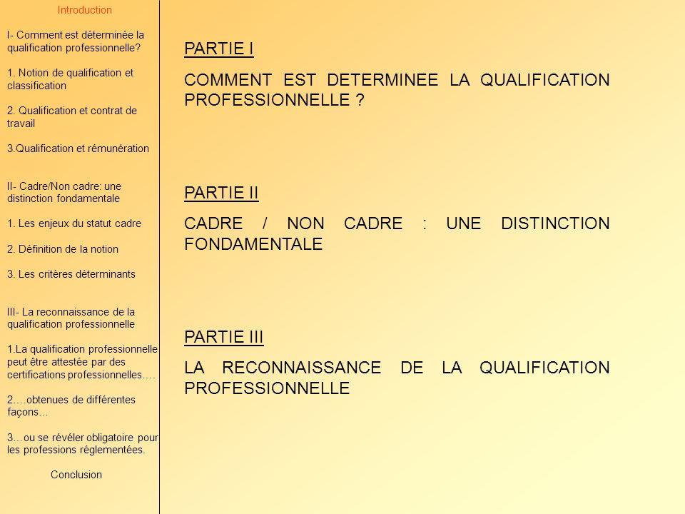 Introduction I- Comment est déterminée la qualification professionnelle.