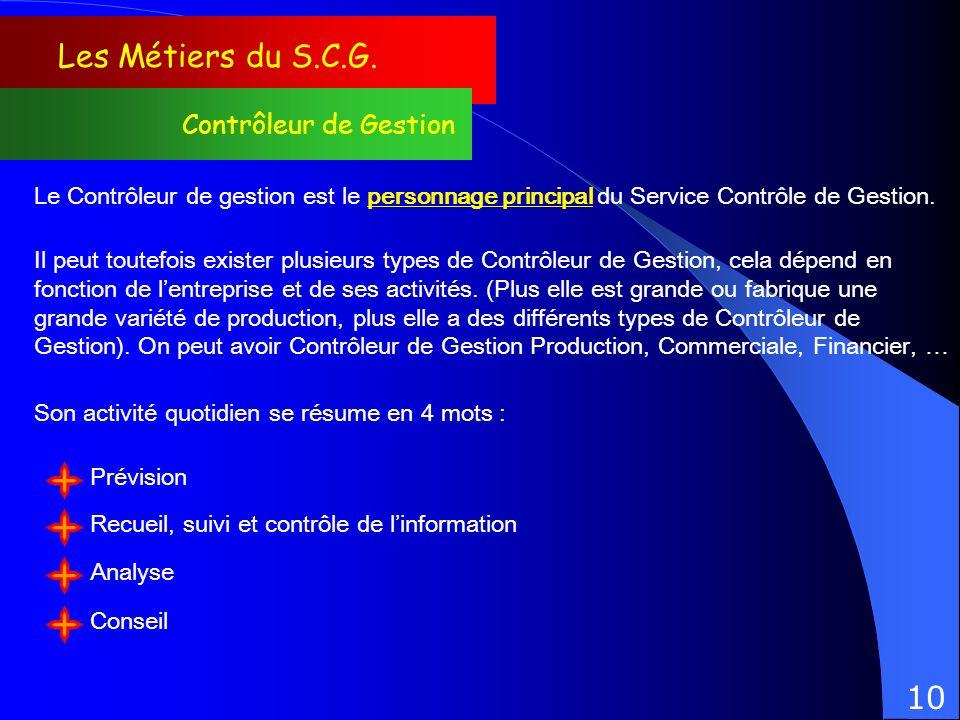 Les Métiers du S.C.G. Contrôleur de Gestion Le Contrôleur de gestion est le personnage principal du Service Contrôle de Gestion. Il peut toutefois exi