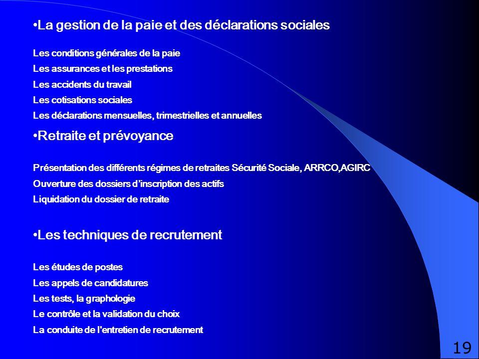 La gestion de la paie et des déclarations sociales Les conditions générales de la paie Les assurances et les prestations Les accidents du travail Les