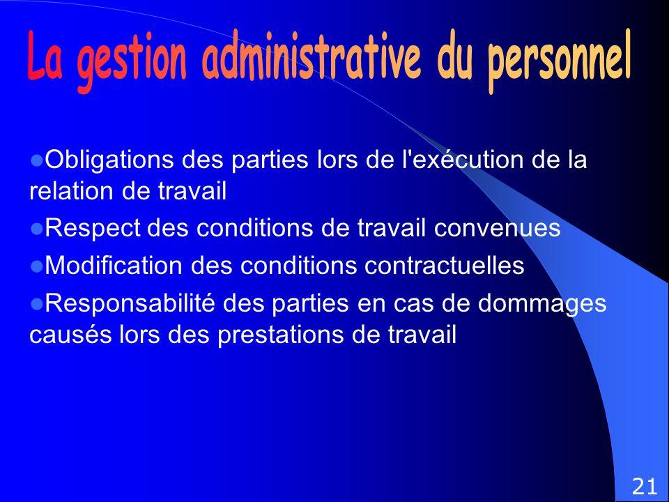 Obligations des parties lors de l'exécution de la relation de travail Respect des conditions de travail convenues Modification des conditions contract