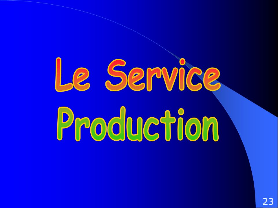 I) D é finition II) Organisation de la Production -Les services op é rationnels -Les services fonctionnels III) Sch é ma Bilan du Service Production.