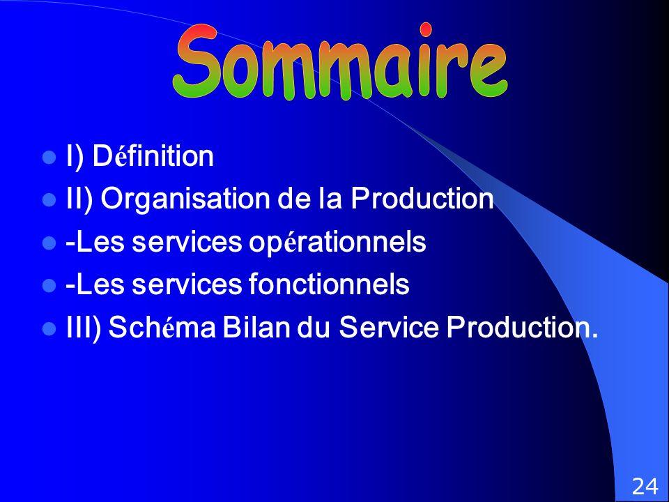 I) D é finition II) Organisation de la Production -Les services op é rationnels -Les services fonctionnels III) Sch é ma Bilan du Service Production.