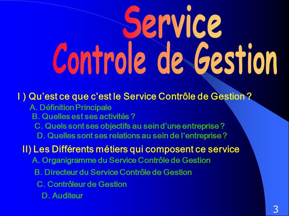 I ) Quest ce que cest le Service Contrôle de Gestion ? II) Les Différents métiers qui composent ce service A. Organigramme du Service Contrôle de Gest