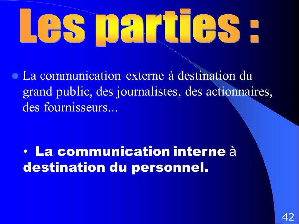La communication externe à destination du grand public, des journalistes, des actionnaires, des fournisseurs... La communication interne à destination