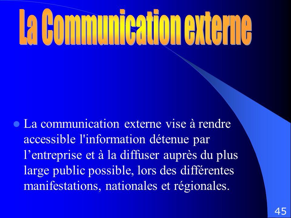La communication externe vise à rendre accessible l'information détenue par lentreprise et à la diffuser auprès du plus large public possible, lors de