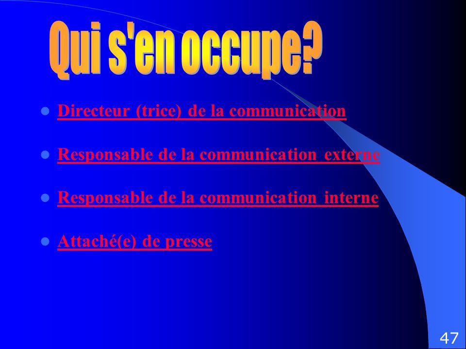 Directeur (trice) de la communication Responsable de la communication externe Responsable de la communication interne Attaché(e) de presse 47