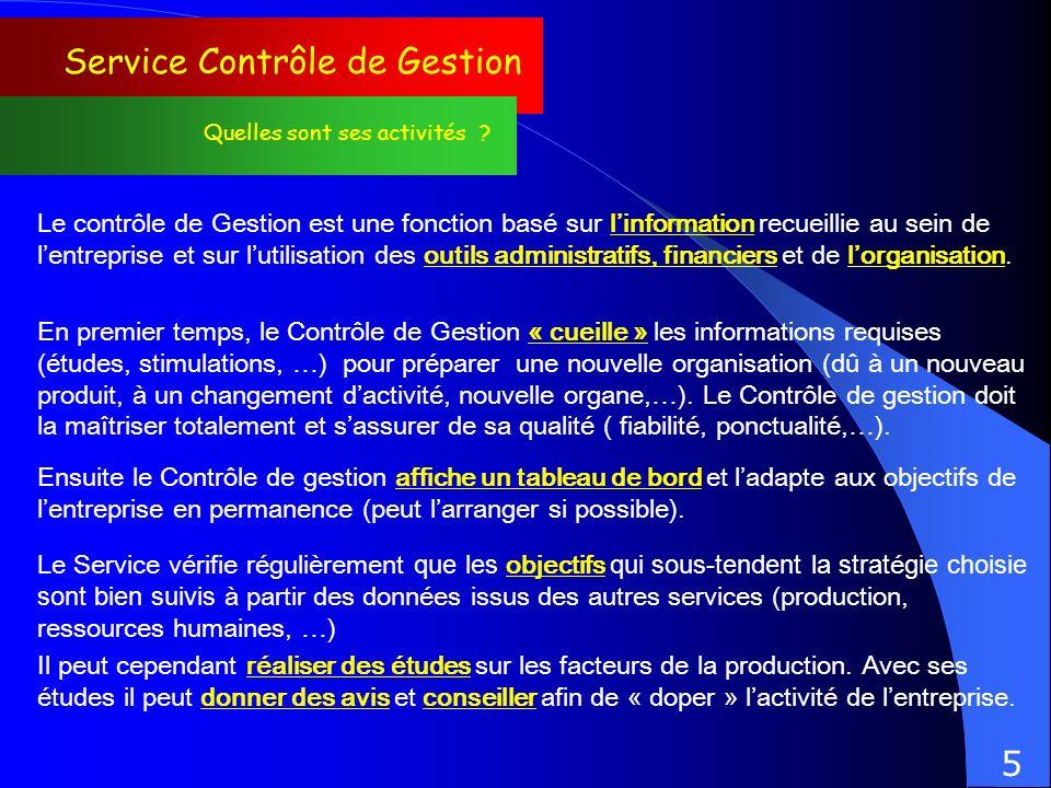 Service Contrôle de Gestion Quelles sont ses activités ? Le contrôle de Gestion est une fonction basé sur linformation recueillie au sein de lentrepri