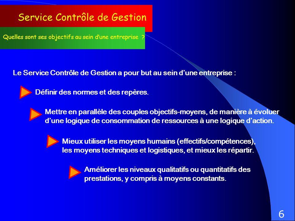 Service Contrôle de Gestion Quelles sont ses objectifs au sein dune entreprise ? Le Service Contrôle de Gestion a pour but au sein dune entreprise : D