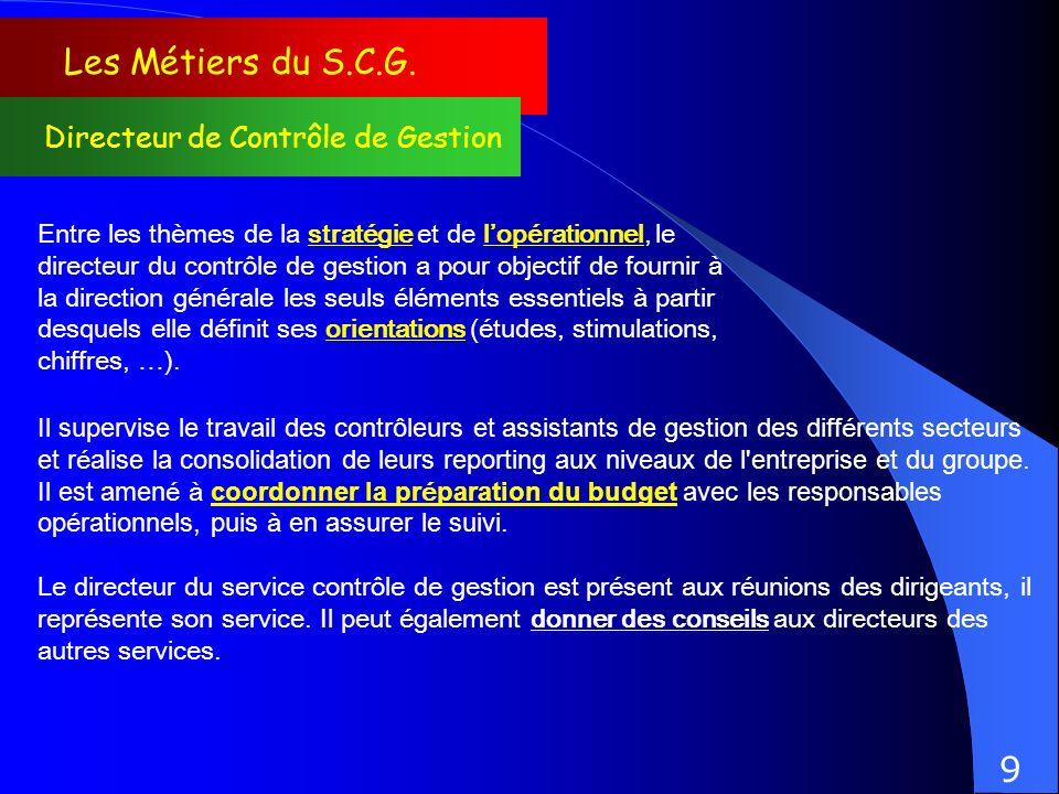 Les Métiers du S.C.G. Directeur de Contrôle de Gestion Entre les thèmes de la stratégie et de lopérationnel, le directeur du contrôle de gestion a pou