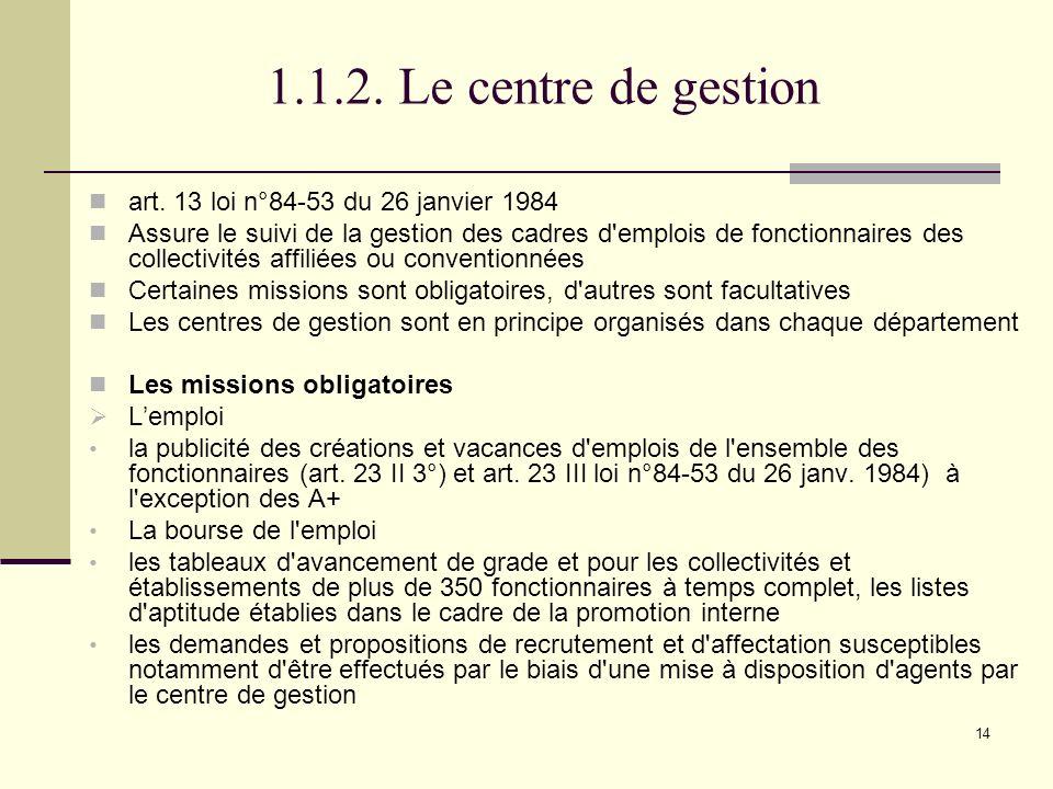 14 1.1.2.Le centre de gestion art.