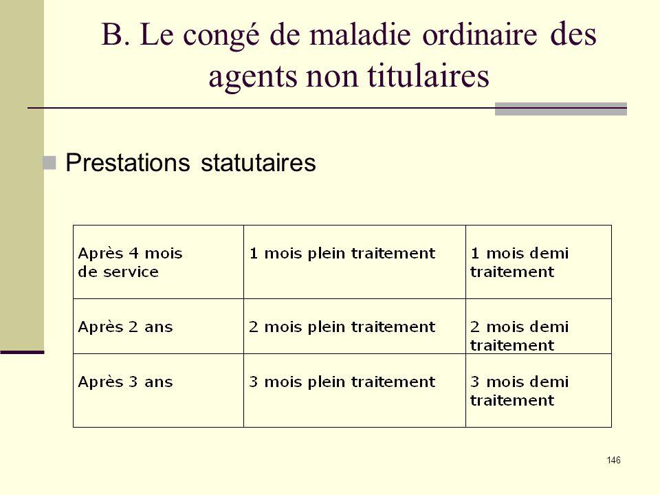 146 B. Le congé de maladie ordinaire des agents non titulaires Prestations statutaires