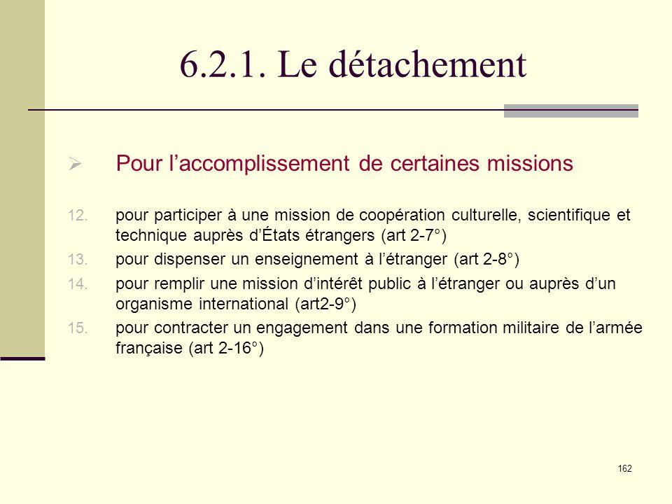 162 6.2.1.Le détachement Pour laccomplissement de certaines missions 12.
