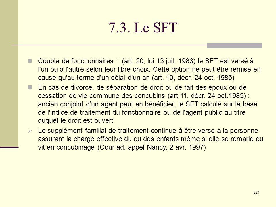 224 7.3.Le SFT Couple de fonctionnaires : (art. 20, loi 13 juil.