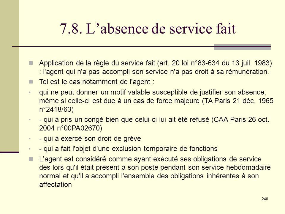 240 7.8.Labsence de service fait Application de la règle du service fait (art.