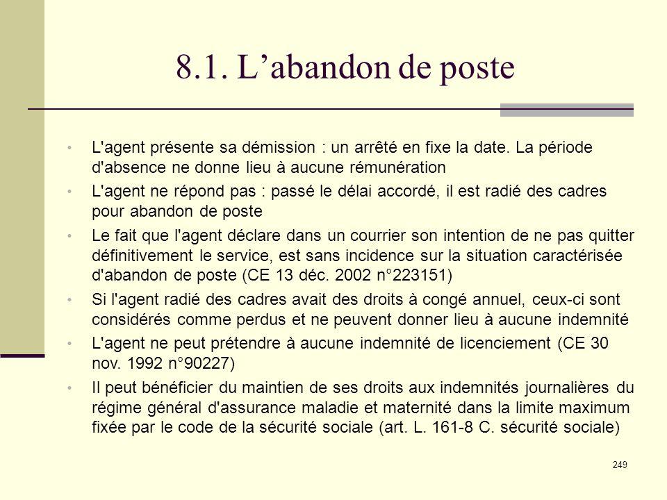 249 8.1.Labandon de poste L agent présente sa démission : un arrêté en fixe la date.