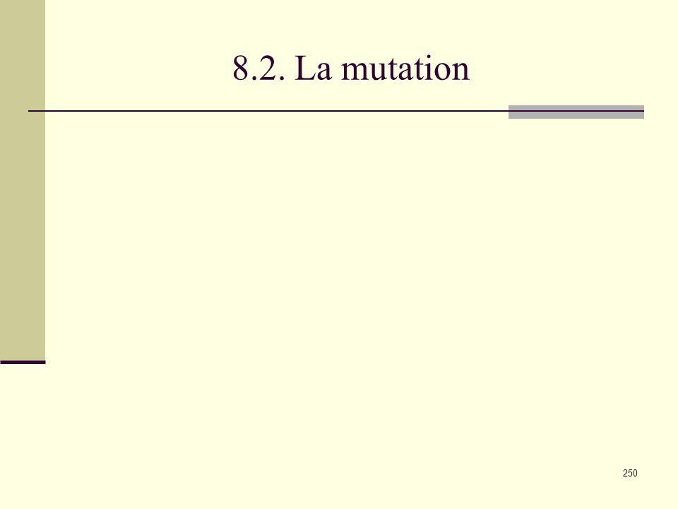 250 8.2. La mutation