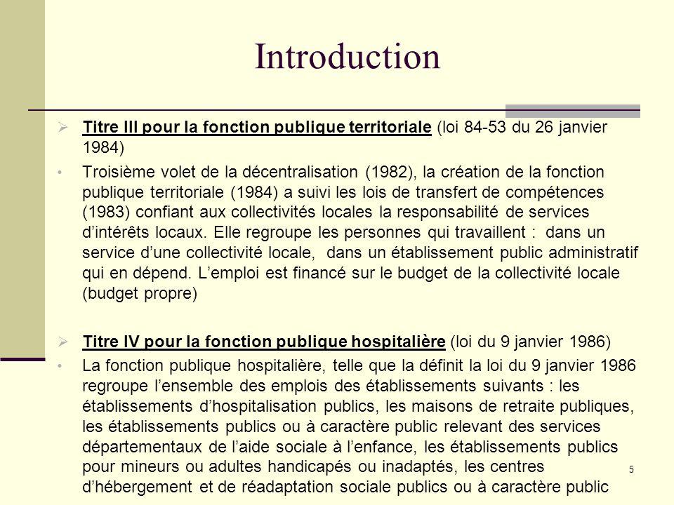 5 Introduction Titre III pour la fonction publique territoriale (loi 84-53 du 26 janvier 1984) Troisième volet de la décentralisation (1982), la création de la fonction publique territoriale (1984) a suivi les lois de transfert de compétences (1983) confiant aux collectivités locales la responsabilité de services dintérêts locaux.