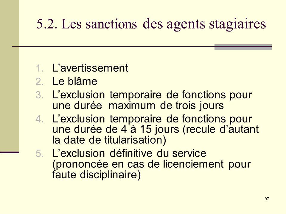 97 5.2.Les sanctions des agents stagiaires 1. Lavertissement 2.