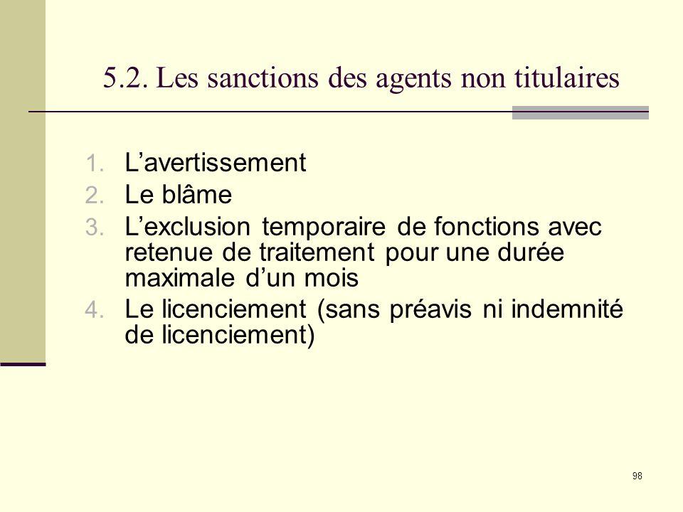98 5.2.Les sanctions des agents non titulaires 1.