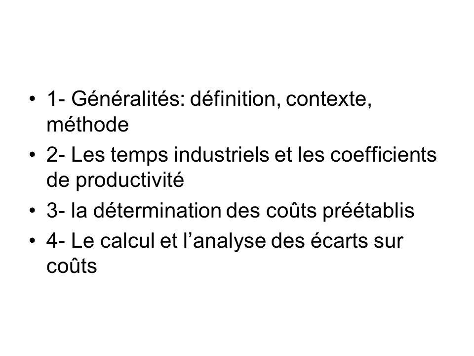 1- Généralités: définition, contexte, méthode 2- Les temps industriels et les coefficients de productivité 3- la détermination des coûts préétablis 4-