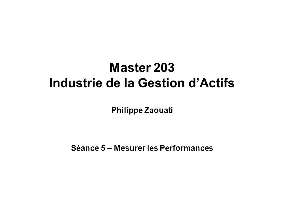 Master 203 Industrie de la Gestion dActifs Philippe Zaouati Séance 5 – Mesurer les Performances