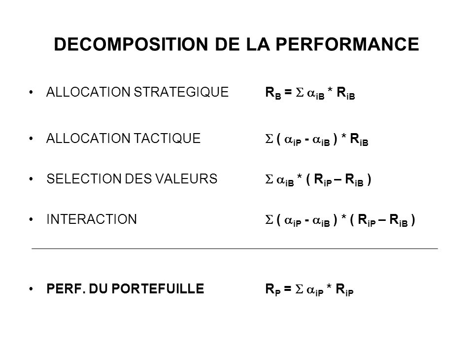 DECOMPOSITION DE LA PERFORMANCE ALLOCATION STRATEGIQUE R B = iB * R iB ALLOCATION TACTIQUE ( iP - iB ) * R iB SELECTION DES VALEURS iB * ( R iP – R iB ) INTERACTION ( iP - iB ) * ( R iP – R iB ) PERF.