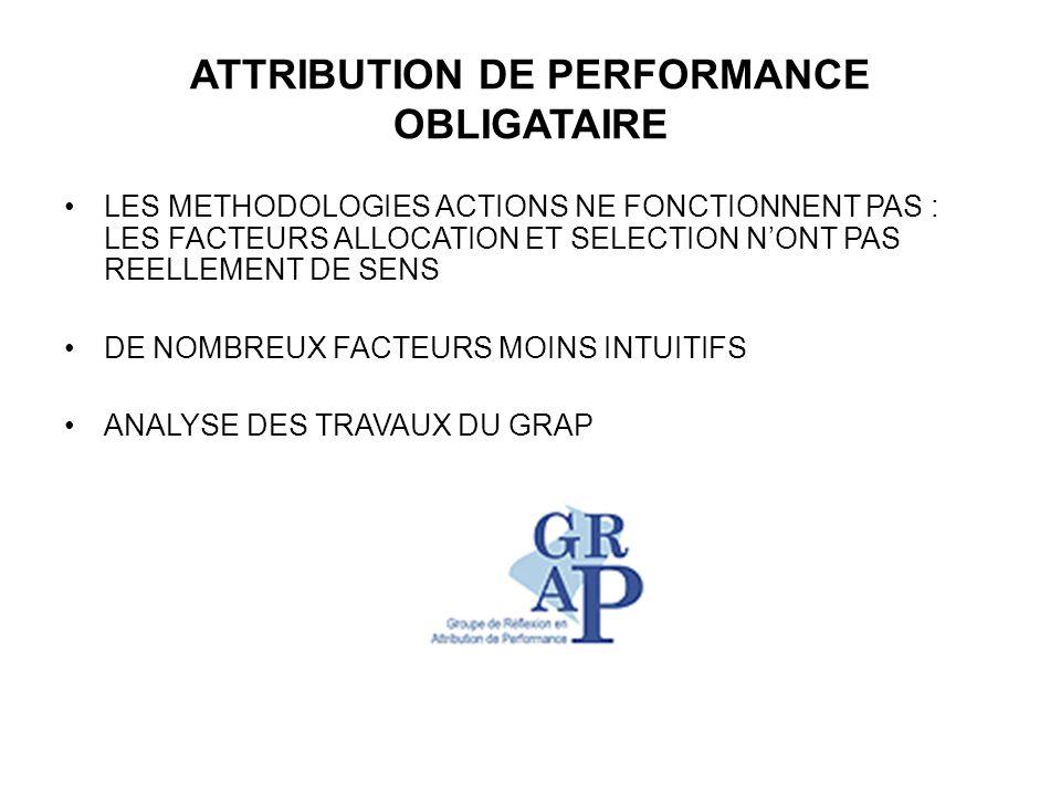 ATTRIBUTION DE PERFORMANCE OBLIGATAIRE LES METHODOLOGIES ACTIONS NE FONCTIONNENT PAS : LES FACTEURS ALLOCATION ET SELECTION NONT PAS REELLEMENT DE SENS DE NOMBREUX FACTEURS MOINS INTUITIFS ANALYSE DES TRAVAUX DU GRAP