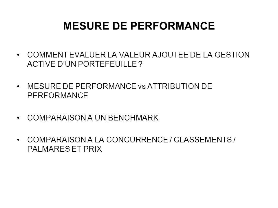 MESURE DE PERFORMANCE COMMENT EVALUER LA VALEUR AJOUTEE DE LA GESTION ACTIVE DUN PORTEFEUILLE .