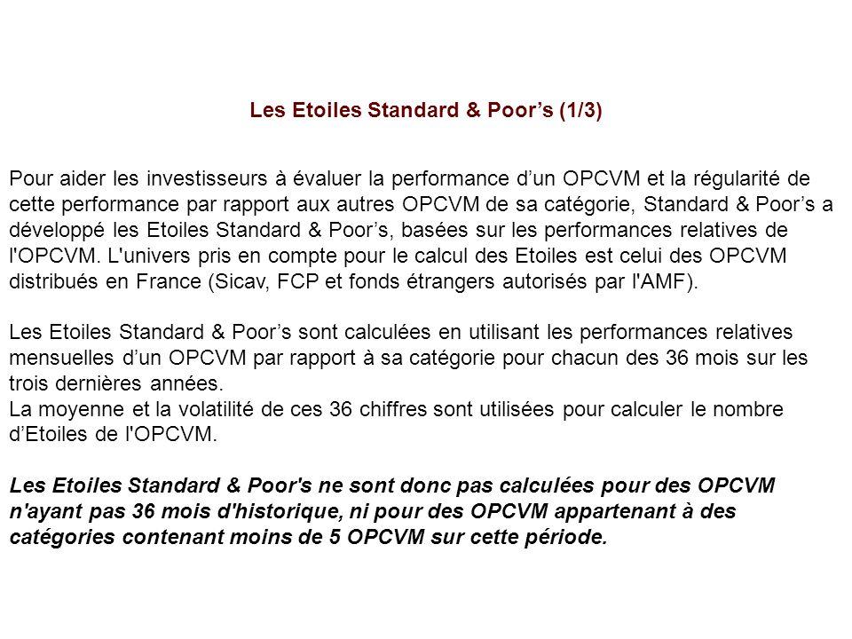 Les Etoiles Standard & Poors (1/3) Pour aider les investisseurs à évaluer la performance dun OPCVM et la régularité de cette performance par rapport aux autres OPCVM de sa catégorie, Standard & Poors a développé les Etoiles Standard & Poors, basées sur les performances relatives de l OPCVM.