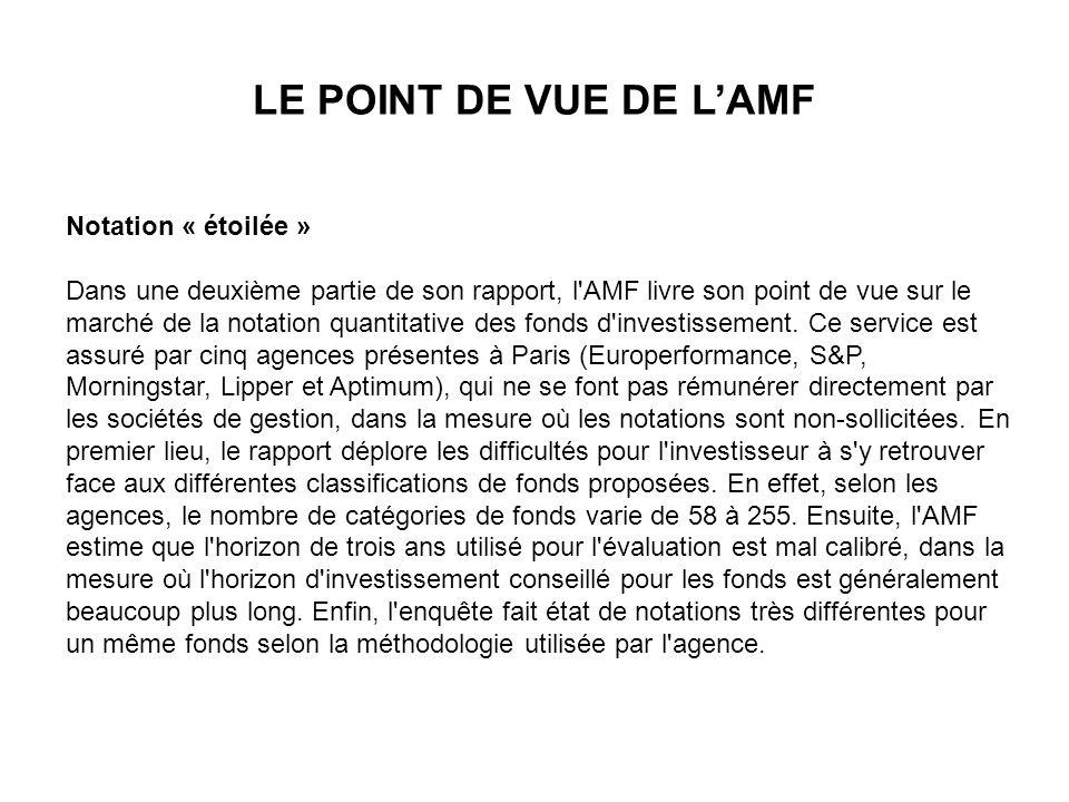 Notation « étoilée » Dans une deuxième partie de son rapport, l'AMF livre son point de vue sur le marché de la notation quantitative des fonds d'inves