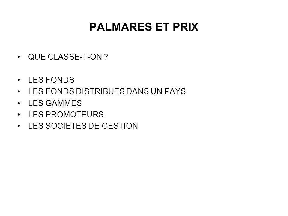 PALMARES ET PRIX QUE CLASSE-T-ON .