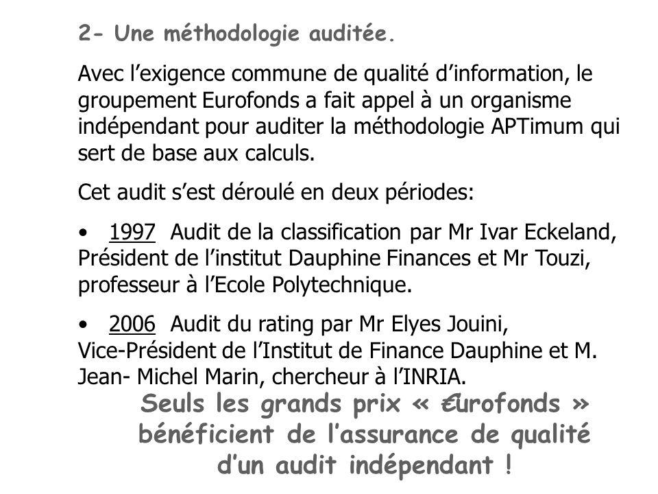 2- Une méthodologie auditée. Avec lexigence commune de qualité dinformation, le groupement Eurofonds a fait appel à un organisme indépendant pour audi