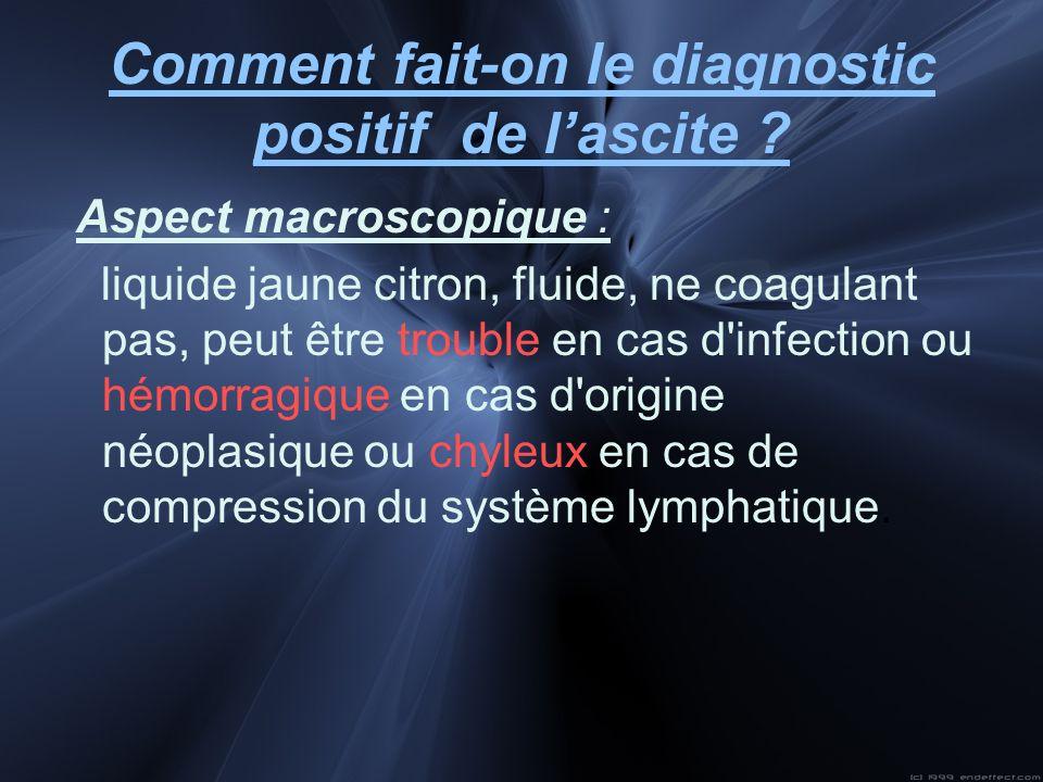 Comment fait-on le diagnostic positif de lascite ? Aspect macroscopique : liquide jaune citron, fluide, ne coagulant pas, peut être trouble en cas d'i