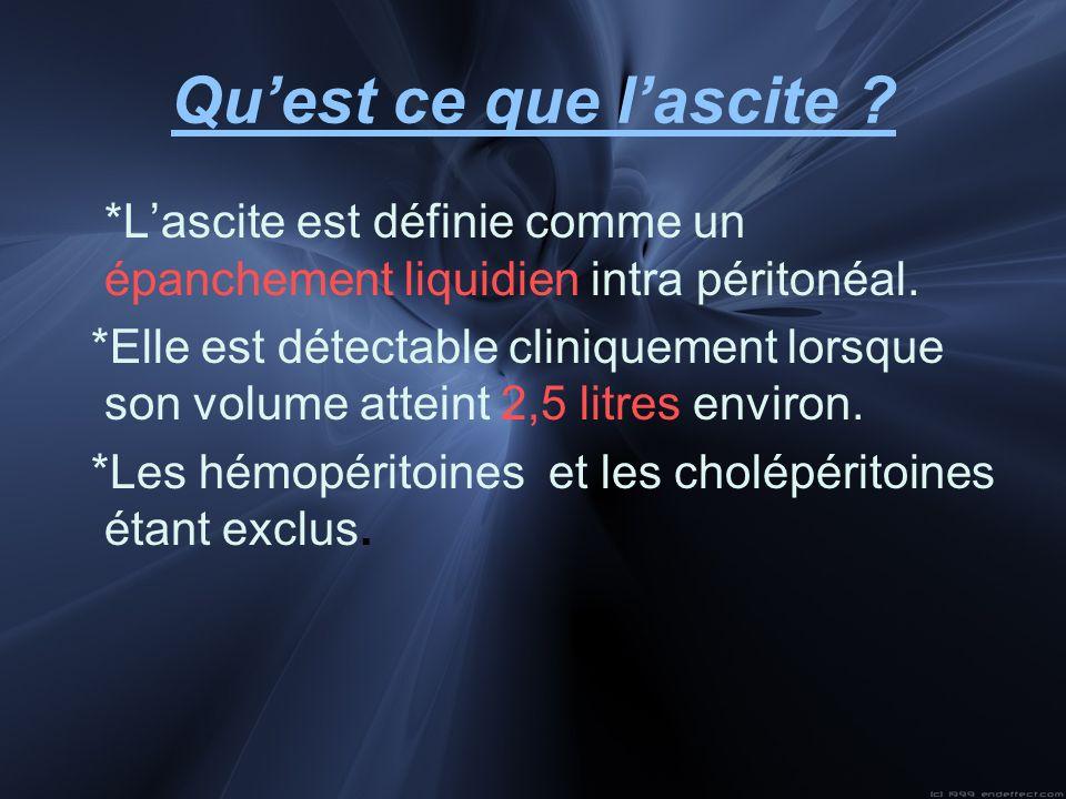 Quest ce que lascite ? *Lascite est définie comme un épanchement liquidien intra péritonéal. *Elle est détectable cliniquement lorsque son volume atte