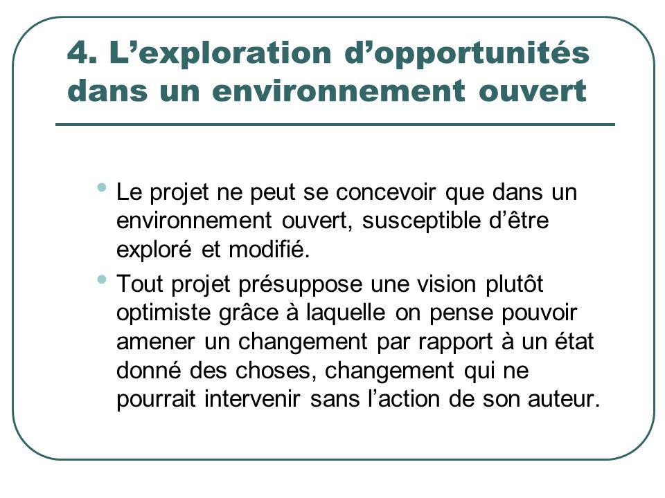 4. Lexploration dopportunités dans un environnement ouvert Le projet ne peut se concevoir que dans un environnement ouvert, susceptible dêtre exploré