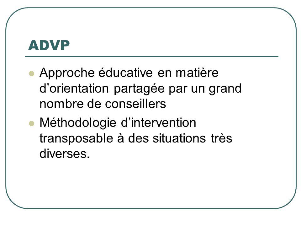 ADVP Approche éducative en matière dorientation partagée par un grand nombre de conseillers Méthodologie dintervention transposable à des situations t