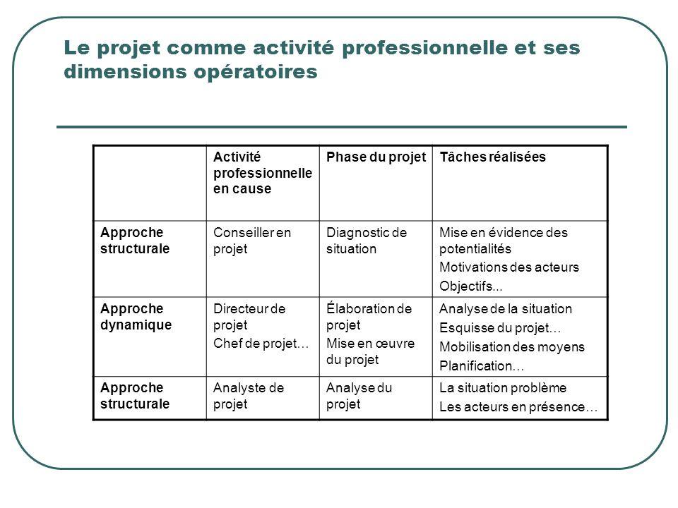 Le projet comme activité professionnelle et ses dimensions opératoires Activité professionnelle en cause Phase du projetTâches réalisées Approche stru
