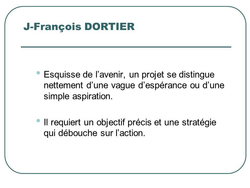 J-François DORTIER Esquisse de lavenir, un projet se distingue nettement dune vague despérance ou dune simple aspiration. Il requiert un objectif préc