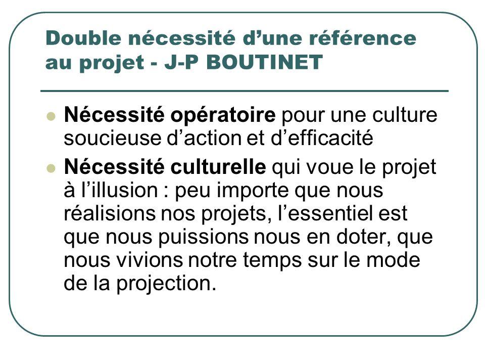 Double nécessité dune référence au projet - J-P BOUTINET Nécessité opératoire pour une culture soucieuse daction et defficacité Nécessité culturelle q