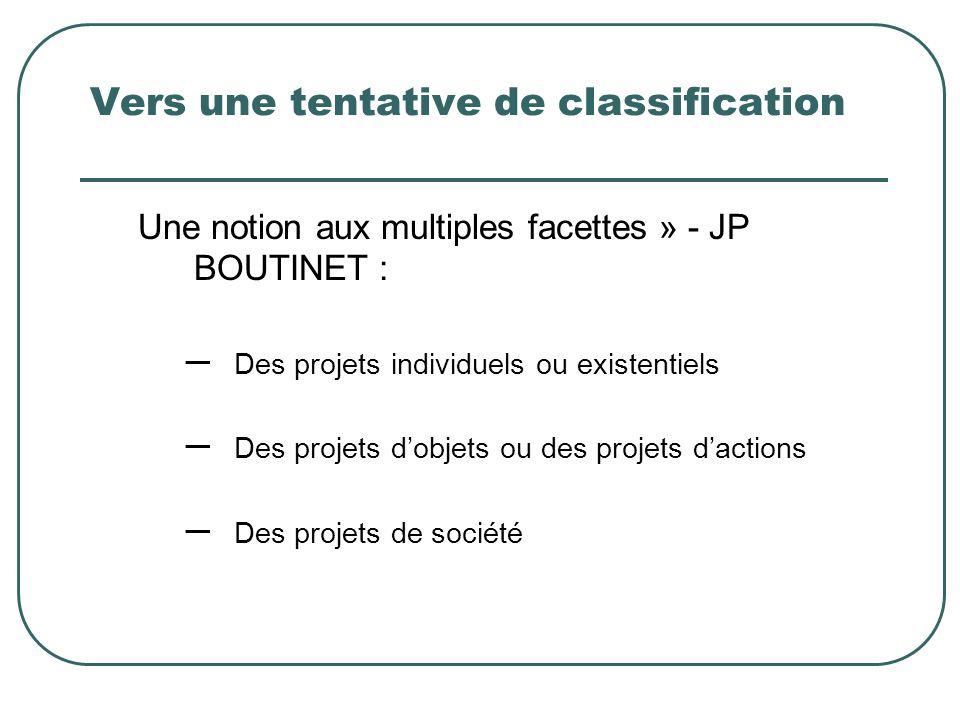 Vers une tentative de classification Une notion aux multiples facettes » - JP BOUTINET : – Des projets individuels ou existentiels – Des projets dobje