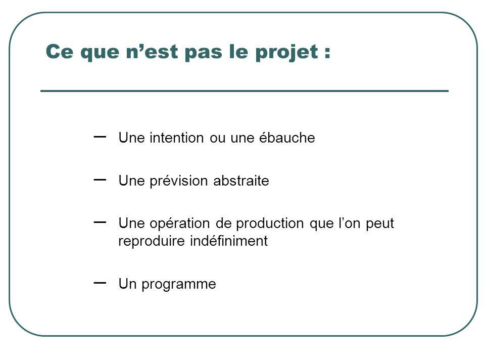 Ce que nest pas le projet : – Une intention ou une ébauche – Une prévision abstraite – Une opération de production que lon peut reproduire indéfinimen