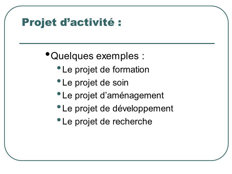Projet dactivité : Quelques exemples : Le projet de formation Le projet de soin Le projet daménagement Le projet de développement Le projet de recherc